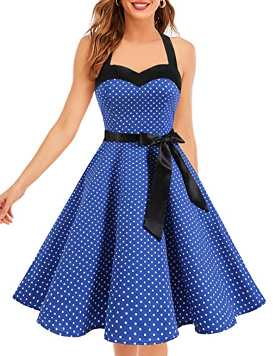 Dresstells Neckholder Rockabilly 50er Polka Dots Punkte 1950er Kleid Petticoat Faltenrock Royal Blue Small White Dot S von Dresstells
