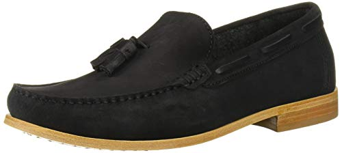 Driver Club USA Herren Mens Made in Brazil Hampton Leather Sole Tassle Loafer Halbschuhe, Schwarze Velourslederoptik, 39.5 EU von Driver Club USA