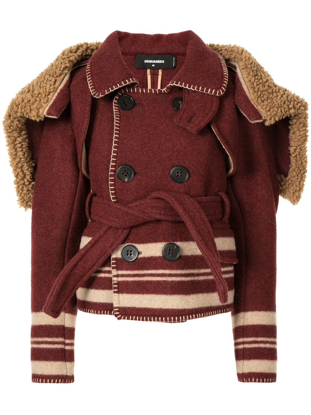 Dsquared2 cape-detail peacoat - DO NOT USE - BURGUNDY von Dsquared2
