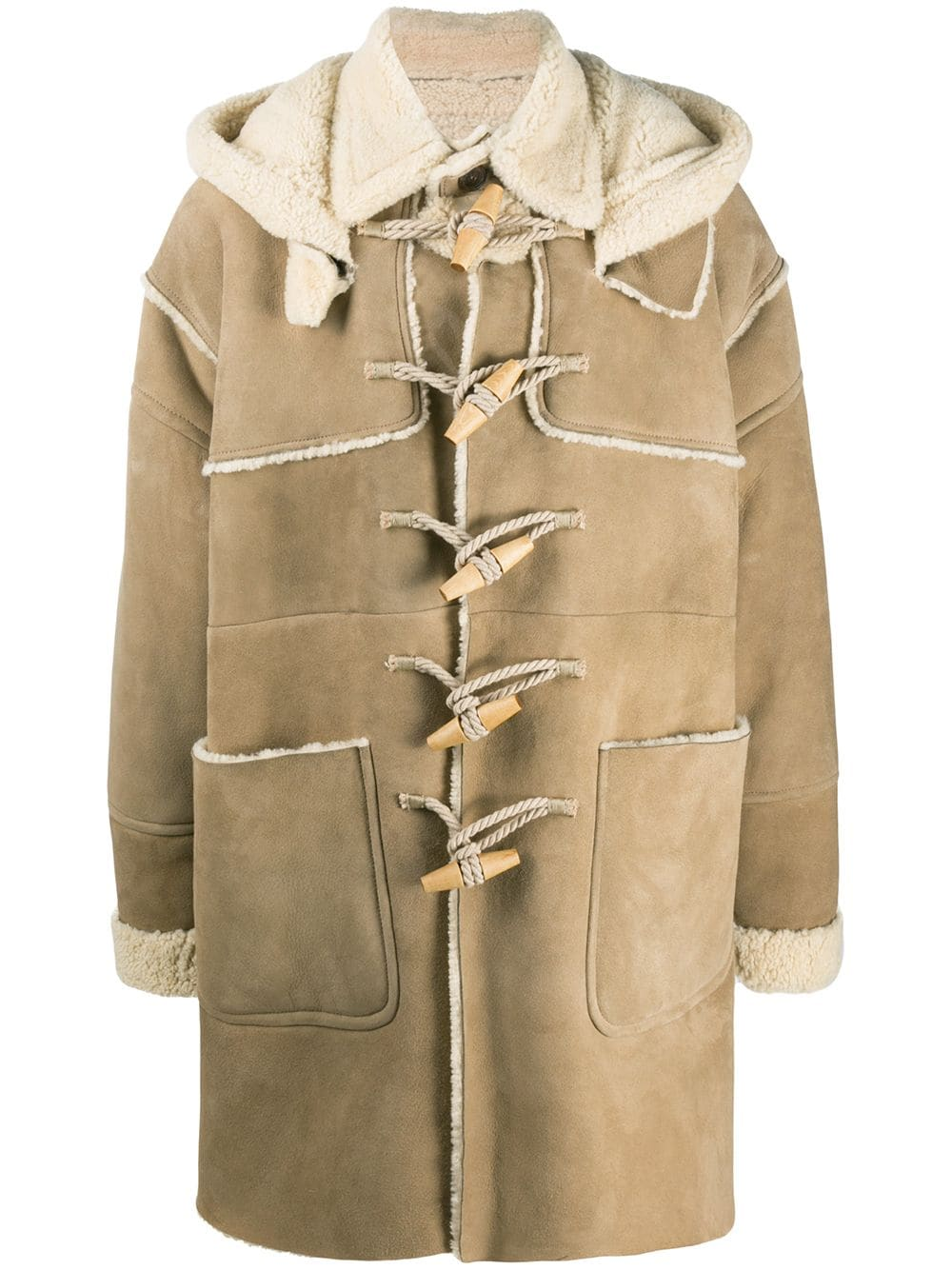 Dsquared2 Dufflecoat mit Shearling-Futter - Nude von Dsquared2