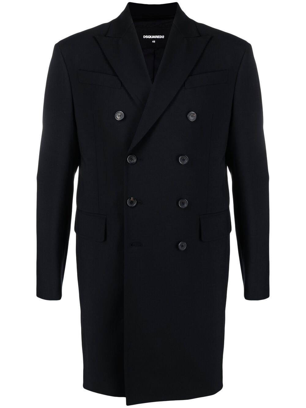 Dsquared2 zip-detail double-breasted coat - Schwarz von Dsquared2