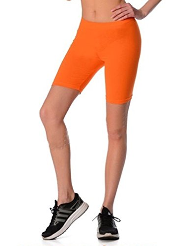 Dykmod Damen Kurze Leggings Shorts Sport Radlerhose mf7 36, Orange von Dykmod