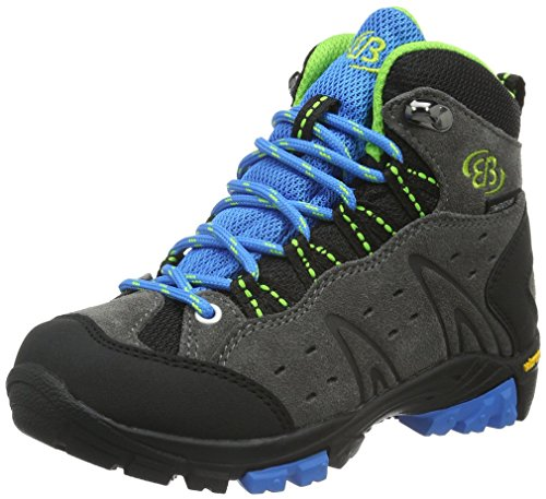 EB kids MOUNT BONA HIGH KIDS, Jungen Trekking- & Wanderstiefel, Grau (GRAU/BLAU/LEMON), 35 EU (2.5 Kinder UK) von EB kids