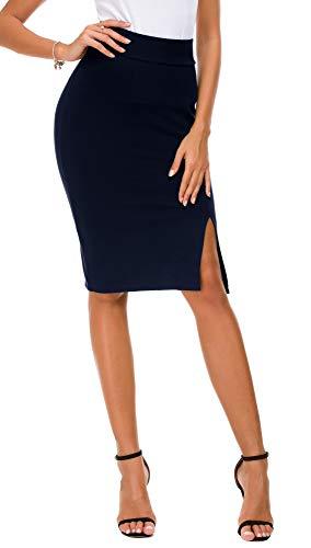 ba469fc8d0ec70 Damen Bleistiftrock figurbetont Business Rock Seitenschlitz Saum (S, Navy  Blau) von EXCHIC