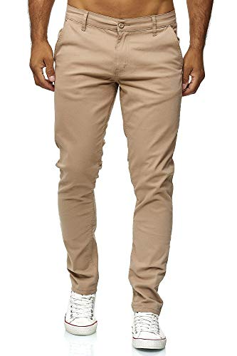Elara Herren Chino Hose Regular Slim Fit Stretch Chunkyrayan MEL009-Beige-36/36 von Elara