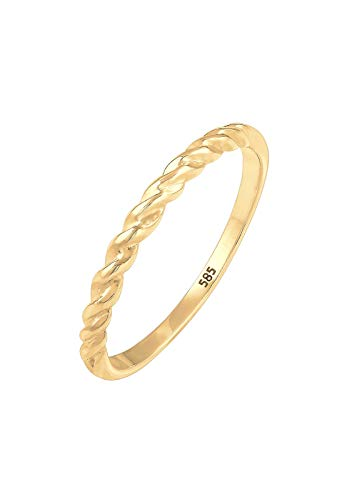 Elli PREMIUM Ring Damen Bandring Basic Geo Twisted Gedreht in 585 Gelbgold von Elli