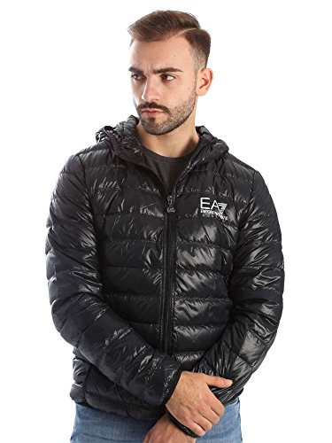 Emporio Armani Herren Train Core Down Hooded Jacket Daunenmantel, schwarz, XX-Large von Emporio Armani
