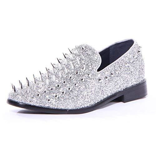 Enzo Romeo SPK09 Herren Vintage Spike Kleid Schlupfschuhe Schlupfschuhe Klassische Smokingschuhe, Silber (Silver (New)), 44 EU
