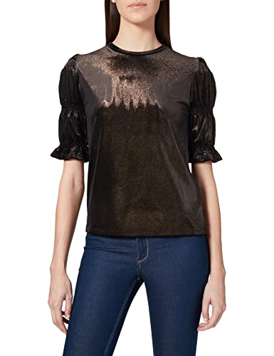 Amazon-Marke: find. Damen Samt Crop-Top mit Metallic-Finish, Schwarz (Black/Gold), 36, Label: S von find.