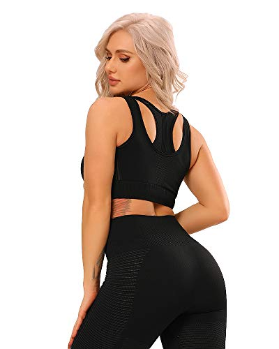 FITTOO Damen Sports BH Nahtloser Seamless starker Halt Bustier Atmungsaktiver Hollow Sport BH Top Push Up Abnehmbarer Polsterung große Brüste #04 - Schwarz M von FITTOO