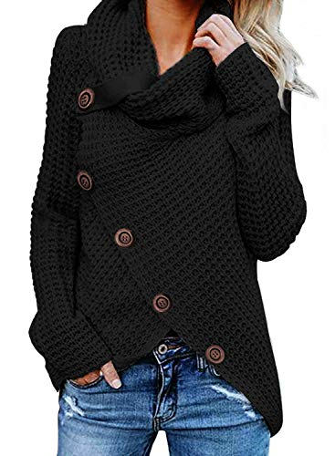 FIYOTE Damen Winterjacke Warm Strickjacke Rollkragen Cardigan Strickpullover Casual Wrap Wickel Pullover Sweater 7 Farbe S/M/L/XL/XXL, Schwarz, Medium(EU40-EU42) von FIYOTE