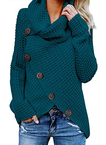 FIYOTE Damen Winterjacke Warm Strickjacke Rollkragen Cardigan Strickpullover Casual Wrap Wickel Pullover Sweater 7 Farbe S/M/L/XL/XXL, Blau, Medium(EU40-EU42) von FIYOTE