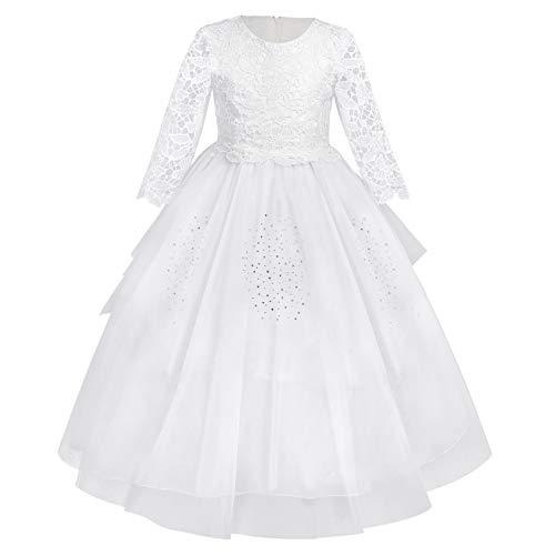 Mädchen Kinder Spitze Partykleid Festkleid Weiß Hochzeit Blumenmädchen Kleider