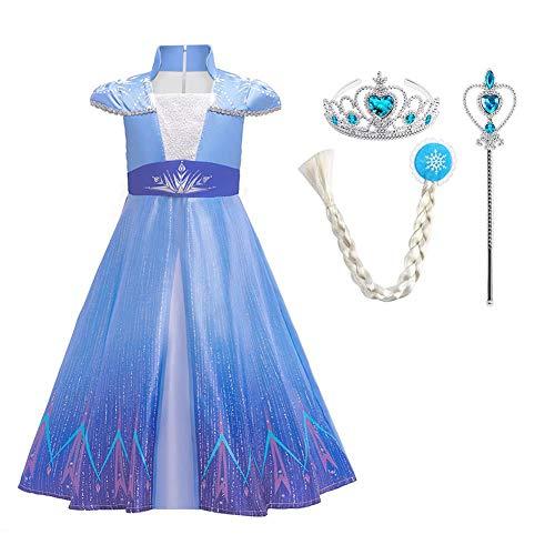 Mädchen Karneval Kostüm-Eiskönigin Elsa Fasching verkleiden Märchen Kleid blau1