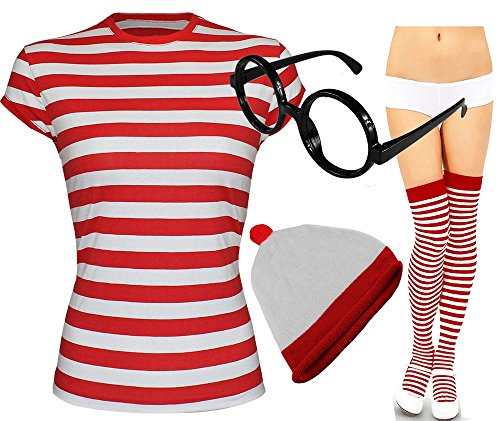 Damen Herren Wo Ist Nerdgeek-Brille Abendkleid Fresher Kostüm Book Day 3 & 4 Piece Set von Fashion