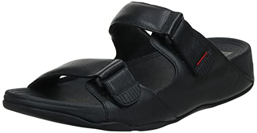 FitFlop Herren Gogh Moc Slide in Leather Peeptoe Sandalen, Schwarz (Black 001), 45 EU von FitFlop