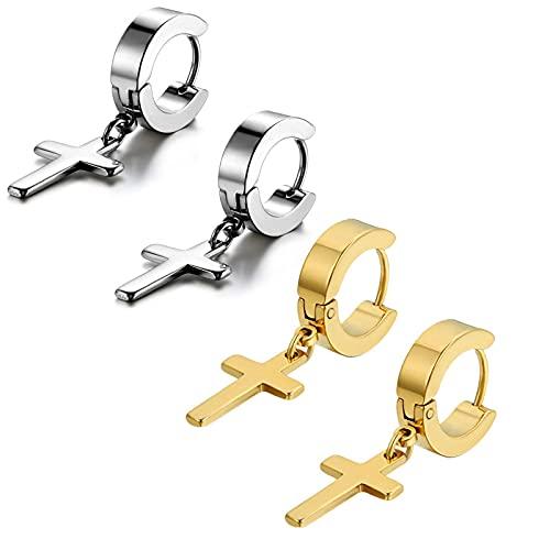 LANSEYAOJI Mens Womens Vintage Stainless Steel Cross Dangle Hinged Hoop Earrings Classic Stud Earrings Set Piercing Ear Jewelry Black Gold Silver