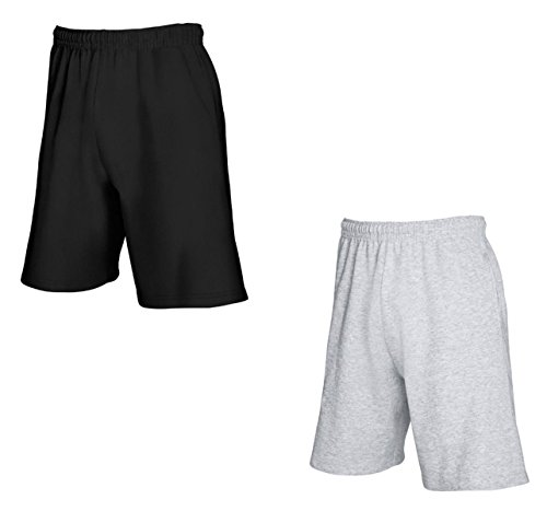 2er-Pack Fruit of The Loom Herren Kurze Sporthosen Jogginghosen Lightweight Shorts (S, Schwarz & Grau) von Fruit of the Loom