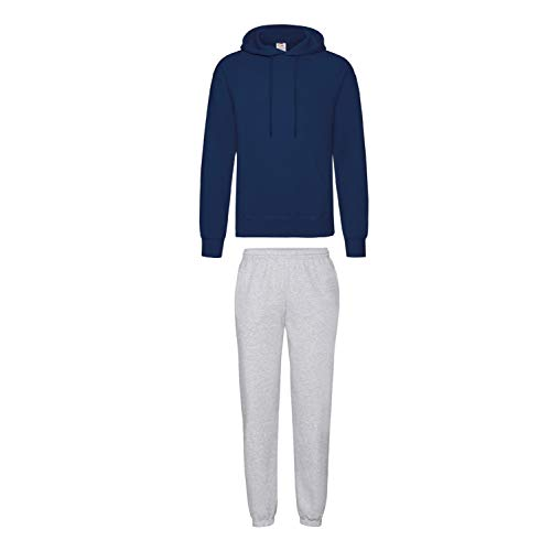 2er-Set Fruit of the Loom Hausanzug Sportanzug Jogginghose & Kapuzensweatshirt (XL, Grau & Navy) von Fruit of the Loom