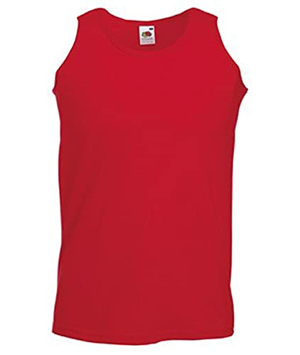 5er FRUIT OF THE LOOM T SHIRT ATHLETIC MUSKELSHIRT M L XL XXL UNTERHEMD TANK TOP (XL, Rot) von Fruit of the Loom