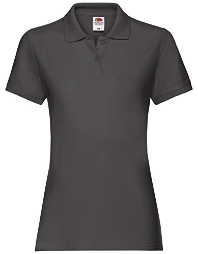 Fruit Of The Loom, Damen-Poloshirt, Grau S von Fruit of the Loom