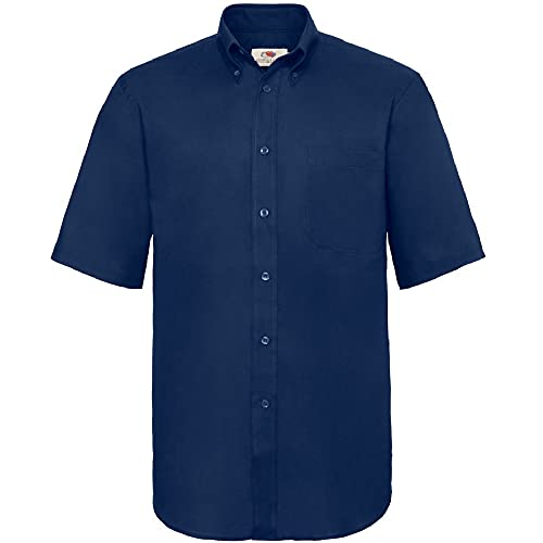 Fruit Of The Loom Herren Oxford Businesshemd, kurzarm, L, Marineblau von Fruit of the Loom