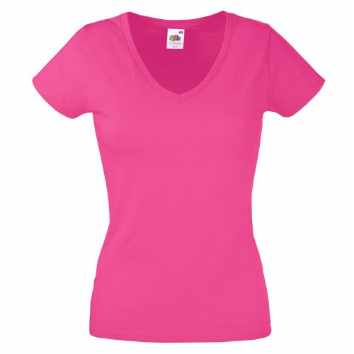 Fruit of the Loom Damen T-Shirt Valueweight V Neck Lady-fit, Rosa a4843e7bb4