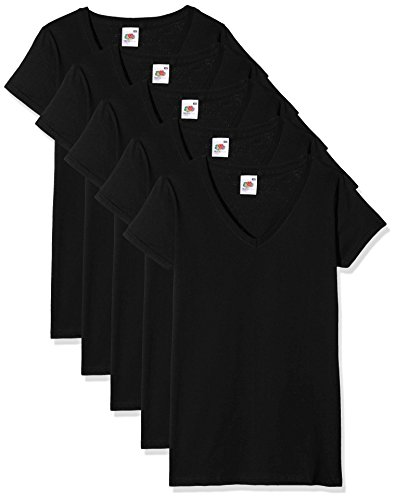 Fruit of the Loom Damen T-Shirt Valueweight V Neck Lady-Fit 5 Pack, Schwarz, 36 von Fruit of the Loom