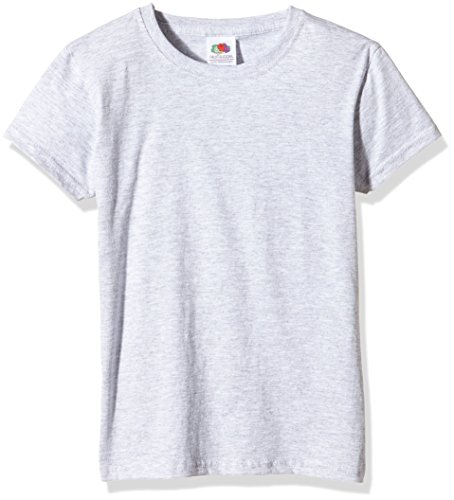 Fruit of the Loom Girl's T-Shirt T-Shirt Ss079b, Gr. Gr. 14/15 Years (Herstellergröße: 36), Grey (Heather Grey) von Fruit of the Loom