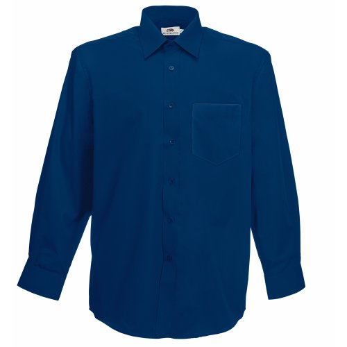 Fruit of the Loom Herren Long Sleeve Poplin Shirt Freizeithemd, Blau (Navy), Large von Fruit of the Loom