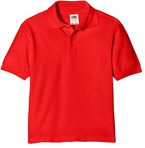 Fruit of the Loom Jungen Poloshirt 65/35 Polo Kids, Rot (Red 400), 104 (Herstellergröße: 3-4) von Fruit of the Loom