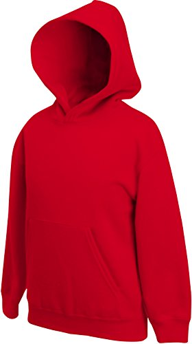 Fruit of the Loom Kinder Kapuzen-Pullover, Rot - Rot, 152 von Fruit of the Loom