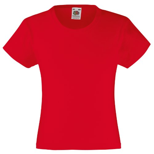 Fruit of the Loom Kinder T-Shirt Valueweight T Girls Rot Red 140 (9-11) von Fruit of the Loom
