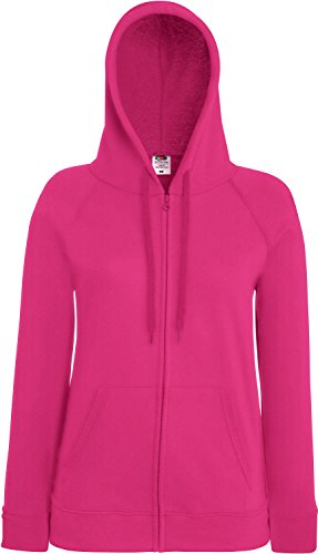 Fruit of the Loom Lady-Fit Lightweight Hooded Sweat Jacket 62-150-0 XS,Fuchsia von Fruit of the Loom