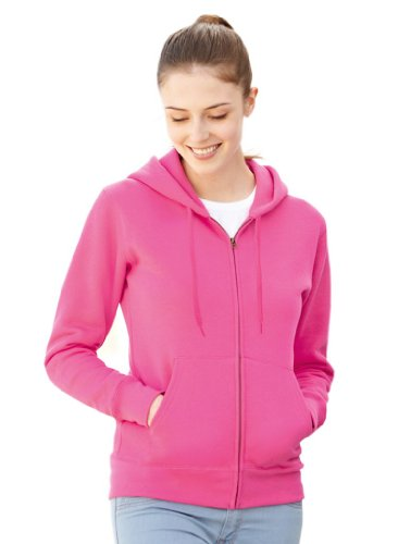 Fruit of the Loom Premium Hooded Sweatjacke Lady-Fit - Farbe: Fuchsia - Größe: L von Fruit of the Loom