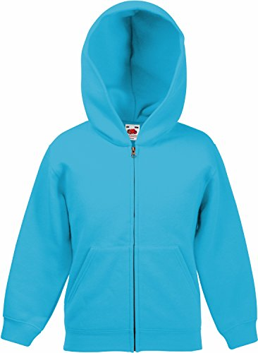Fruit of the Loom: Kids Hooded Sweat Jacket 62-045-0, Größe:164 (14-15);Farbe:Azure Blue von Fruit of the Loom