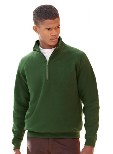 Fruit of the Loom: Zip Neck Sweat 62-114-0, Größe:M;Farbe:Bottle Green von Fruit of the Loom