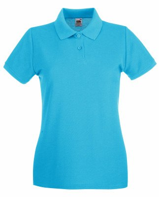 Lady-Fit Premium Poloshirt Fruit of the Loom neue Farben 2017 M Azure Blue von Fruit of the Loom