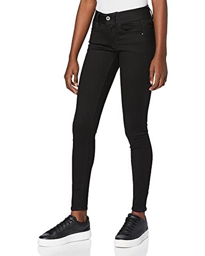 57ccc4c141b5b2 G-STAR RAW Damen Lynn Mid Waist Super Skinny Jeans, Schwarz (Pitch Black