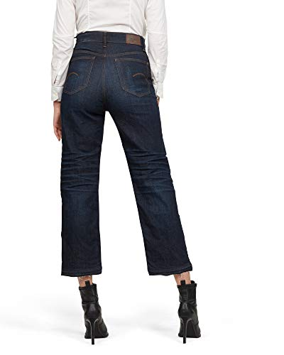 G-STAR RAW Damen Straight Jeans Tedie Ultra High Waist Straight Ripped Ankle C, Blau (Worn In Atlas B767-B136), 32W / 34L von G-STAR RAW