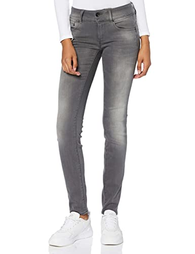 G-Star Raw Damen Skinny Jeans Midge Cody Mid Skinny Slander Flint Super Stretch, Grau (Medium Aged 6132.071), Gr. W26/L32 von G-STAR RAW