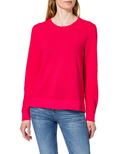 GANT Damen Cotton Pique C-Neck Pullover, Watermelon RED, L von GANT