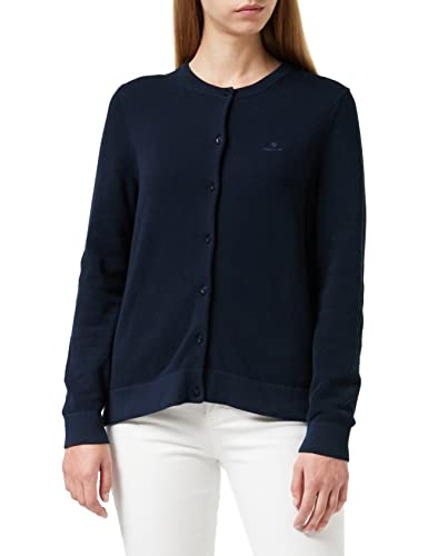 GANT Damen Cotton Pique Cardigan Strickjacke, Blau (Evening Blue 433), Large (Herstellergröße: L) von GANT