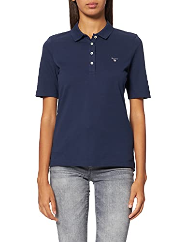 GANT Damen The ORIGINAL Pique LSS Poloshirt, Blau (Evening Blue 433), Small (Herstellergröße: S) von GANT