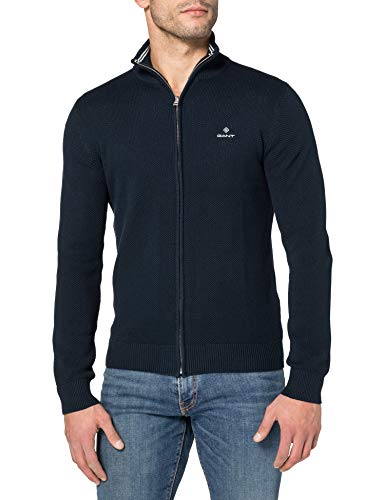 GANT Herren Cotton Pique Zip Cardigan Pullover, Evening Blue, XL von GANT