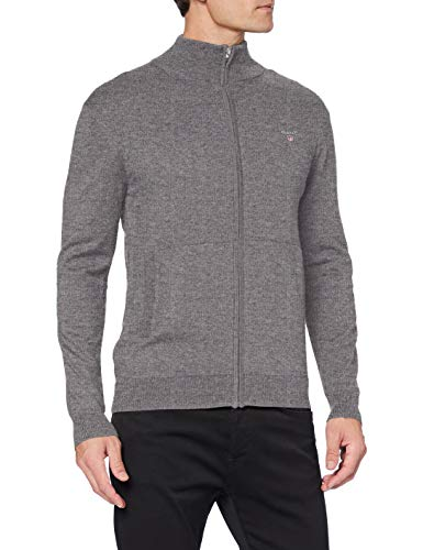 GANT Herren Cotton Wool Zip Cardigan Pullover, Dark Grey Melange, M von GANT