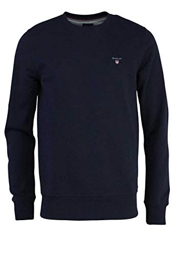 GANT Herren ORIGINAL C-Neck Sweat Sweatshirt, Evening Blue, L von GANT