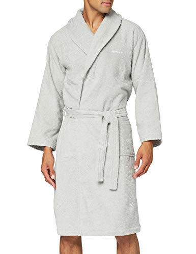 GANT Herren Organic Terry Bathrobe Unterwäsche, Light Grey, S von GANT