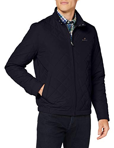 GANT Herren Quilted Windcheater Jacke, Evening Blue, L von GANT