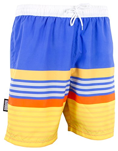5b509240e91539 GUGGEN Mountain Herren Badeshorts Beachshorts Boardshorts Badehose  Schwimmhose Männer mit Muster *Print* Blau Gelb